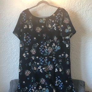 LOFT flowered black dress